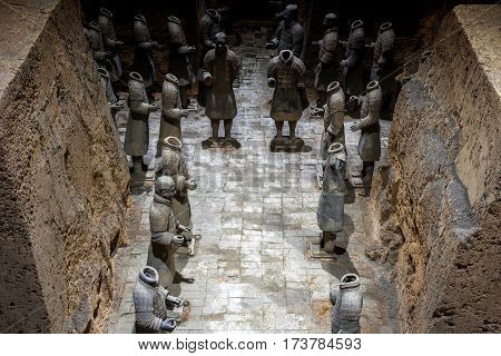 XI'AN SHAANXI PROVINCE CHINA - NOVEMBER 10 2016: View of terracotta soldiers of the famous Terracotta Army inside the Qin Shi Huang Mausoleum of the First Emperor of China.