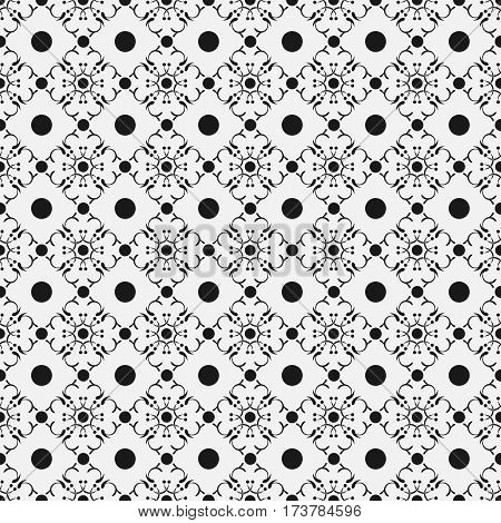 Seamless pattern in arabic style. Intersecting curved elegant lines and scrolls forming abstract floral ornament. Abstract floral ornament on gray background.