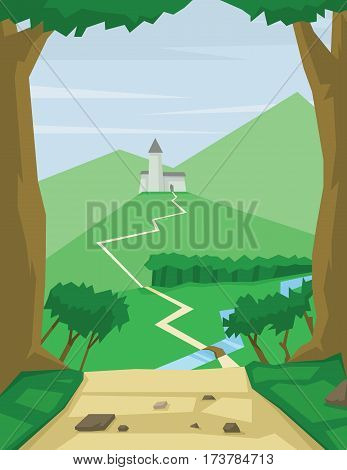 Digital vector abstract background with a path way to silver castle, green forest, flat triangle style