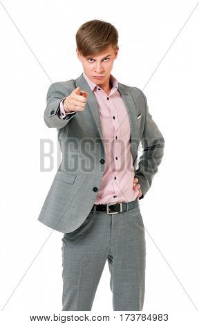 Teen boy pointing finger to you. Young caucasian man pointing at camera choosing you, isolated on white background.