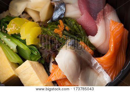 Japanese Food Tekka Don Take Away On Wooden Background