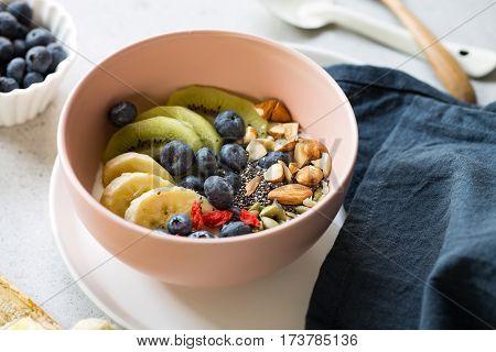 Blueberries,Kiw,iAlmond,Goji berries and Chia seed on Greek yogurt