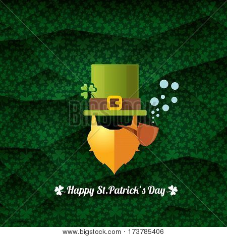 vector happy saint patricks day label with leprechaun, green hat, red beard and smoking pipe on green pattern background. saint patrick day poster or banner design template