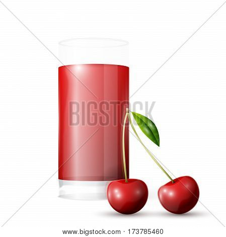 Cherry juice. A glass of cherry juice and cherries. Vector illustration, EPS 10