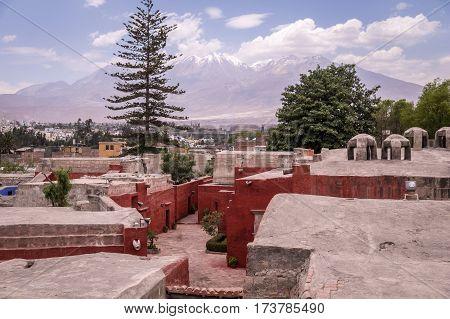 View over Novice Cloister of Santa Catalina monastery on Misti volcano in Arequipa, Peru