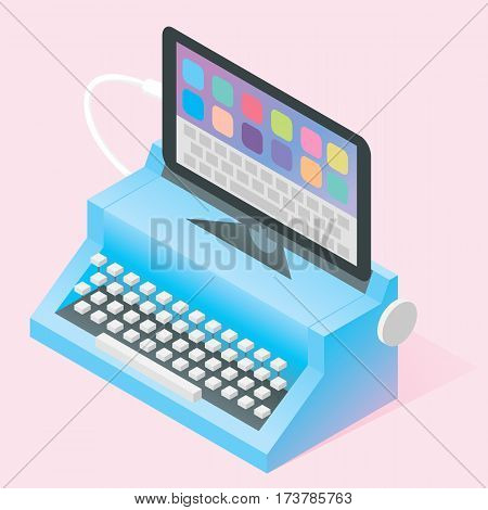 Isometric vector blue retro typewriter connected to mobile tablet