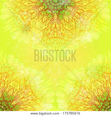 Hand drawn ethnic floral green and yellow grunge ornamental pattern