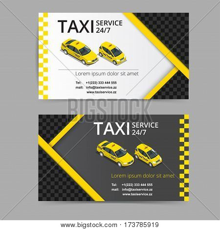Taxi card for taxi-drivers. Taxi-service. Vector business card template. Company, brand, branding, identity, logotype. Business card template with texture