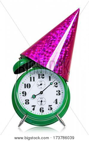 Alarm clock with birthday cap. Time for the holiday's concept with clock and present isolated on white background.