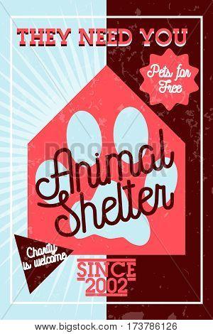 Color vintage animal shelter banner. Vector illustration, EPS 10