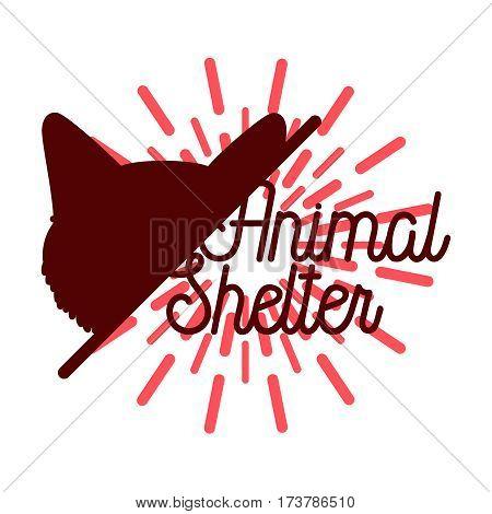 Color vintage animal shelter emblem, label, badge and design elements. Vector illustration, EPS 10