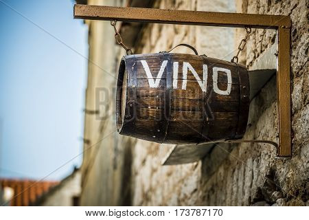 wine barrel hanging on the wall for decoration