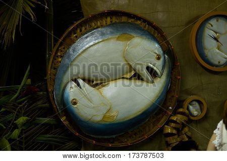 Food replica Mackerel fish in bamboo basket
