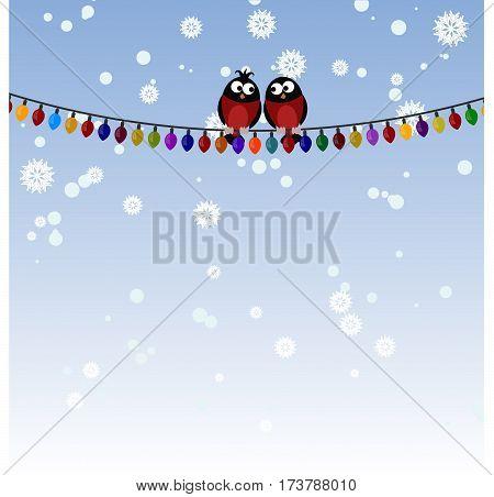 Two bullfinch on a Christmas garland. Winter.