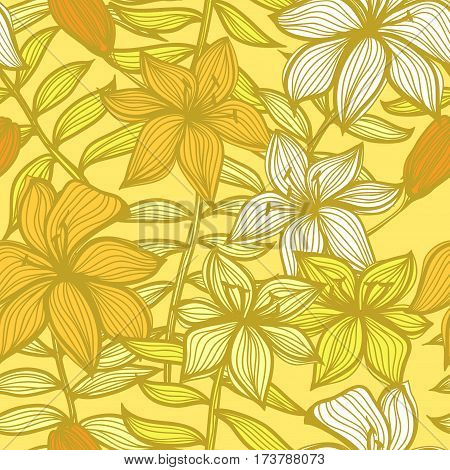Seamless hand drawn floral background with lily flowers