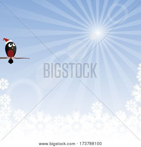 Winter background with rays and bullfinch. Frost and sun.