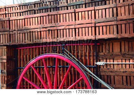 Transport of crates. Provision of grain with cart in ancient times.