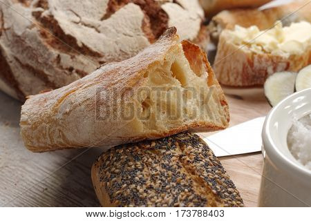 a close up of the traditional french bread