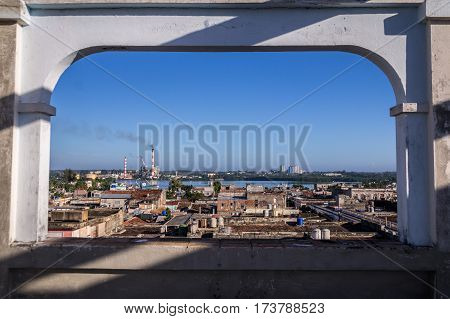 Aerial view from Palacio Ferrer over Cienfuegos, Cuba