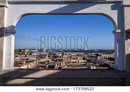 Aerial view from Palacio Ferrer over Cienfuegos, Cuba