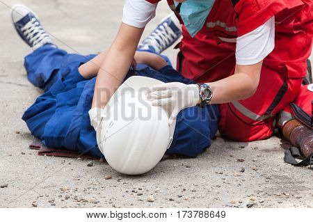 Work accident. First aid after workplace accident.