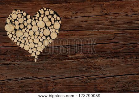 Brown Rustic Wooden Background With Heart Shape