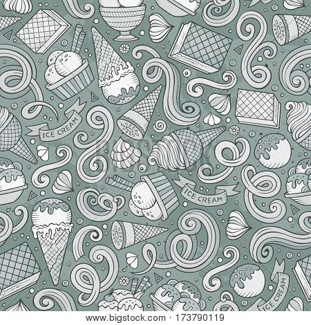 Cartoon hand-drawn ice cream doodles seamless pattern. Monochrome detailed, with lots of objects vector background
