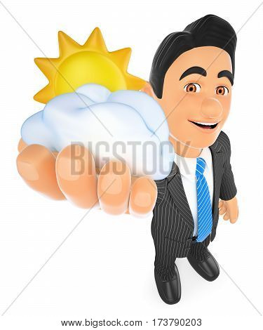 3d business people illustration. Weather man with sun and cloud. Cloudy day. Isolated white background.