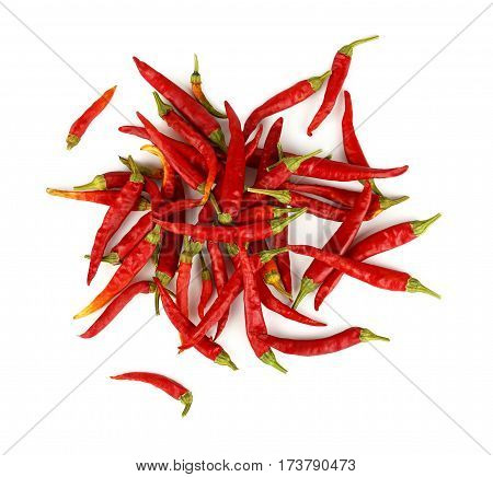 Heap Of Red Hot Chili Peppers Isolated On White