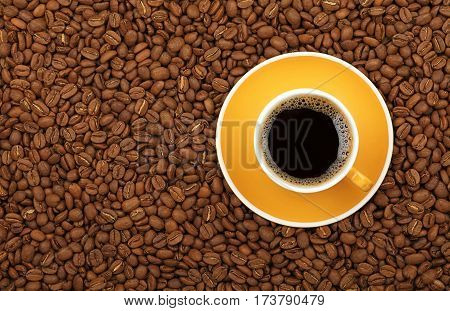 Americano Yellow Cup And Saucer On Coffee Beans