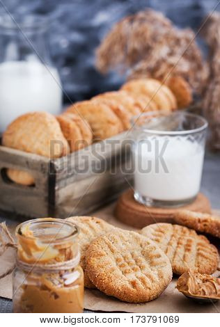 Homemade freshly baked peanut butter cookies and milk