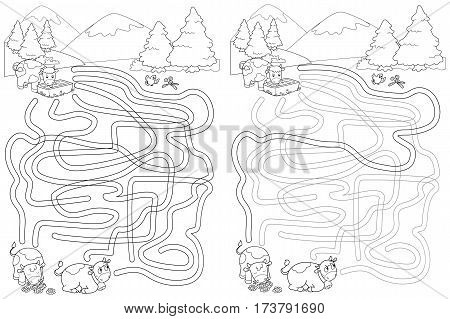 Help the cow to find her friends, solved labyrinth maze game for little kids. Vector.