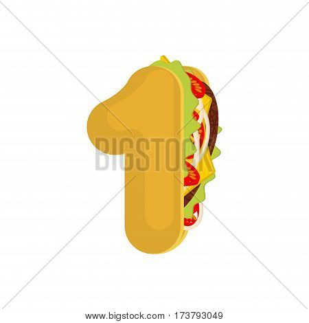 Number 1 Tacos. Mexican Fast Food Font One. Taco Alphabet Symbol. Mexico Meal Abc