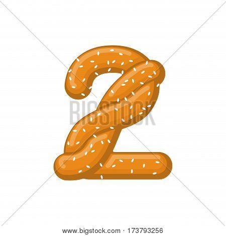 Number 2 Pretzel. Snack Font Two Symbol. Food Alphabet Sign. Traditional German Meal Is Abc. Bake Nu