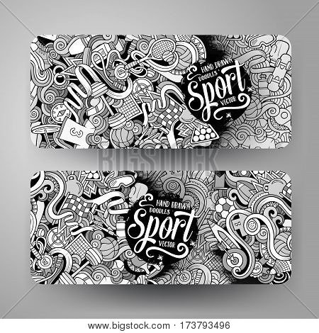 Cartoon cute line art vector hand drawn doodles Sport corporate identity. 2 horizontal banners design. Templates set