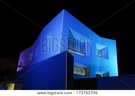 PULA, CROATIA - FEBRUARY 26, 2017: Office building with abstract illumination of corporation ''Lumenart'. ''Lumenart'' is the leader in design and production in the sphere of illumination in Europe.
