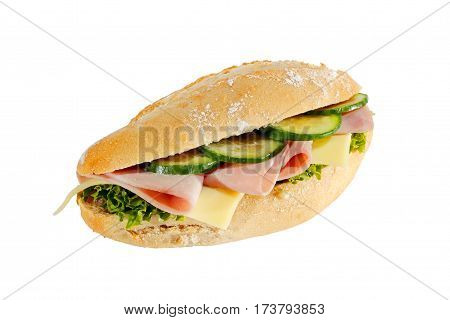 Baguette roll with ham cheese lettuce and cucumber slices isolated