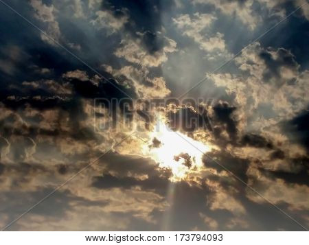 Dark SkyLight shining sunset The sky is dark