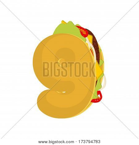 Number9 Tacos. Mexican Fast Food Font Nine . Taco Alphabet Symbol. Mexico Meal Abc