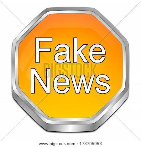 orange Fake News button - 3D illustration