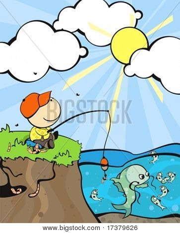 illustration of the cute small dreamy fisherman