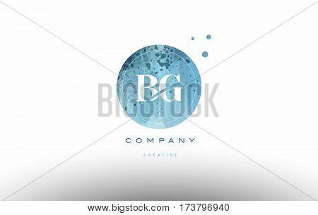 Bg B G  Watercolor Grunge Vintage Alphabet Letter Logo