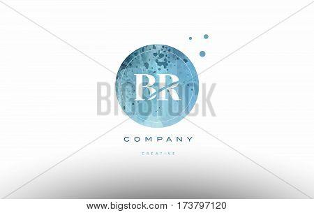 Br B R  Watercolor Grunge Vintage Alphabet Letter Logo