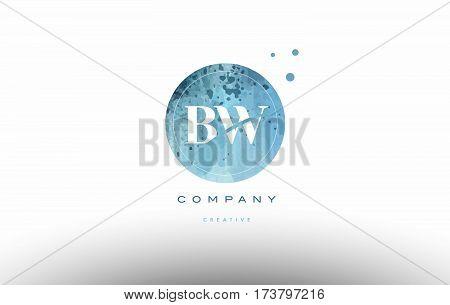 Bw B W  Watercolor Grunge Vintage Alphabet Letter Logo