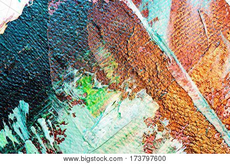 Abstract Oil Painting Background. Oil On Canvas. Hand Drawn Oil Painting. Color Texture. Fragment Of