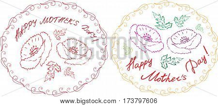 Happy mother's day cards set with handdrawn floral elements and handlettering. vector illustration.