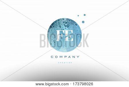 Fe F E  Watercolor Grunge Vintage Alphabet Letter Logo