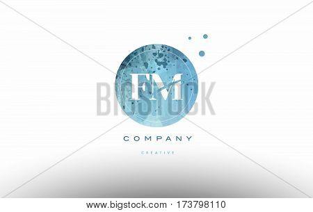 Fm F M  Watercolor Grunge Vintage Alphabet Letter Logo