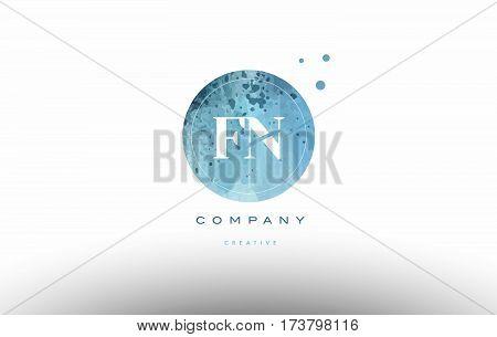 Fn F N  Watercolor Grunge Vintage Alphabet Letter Logo