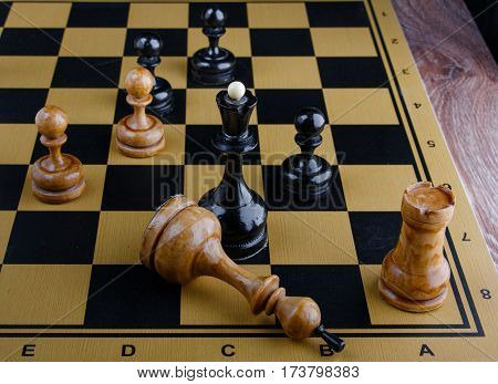The chess pieces are placed on the chessboard. Defeated white king.